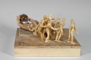 41.N cooley -March to Completion-mixed media sculpted Haiku-12x12x8-$250.00